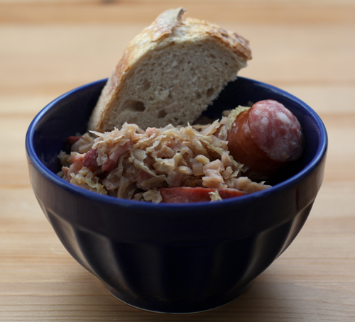 choucroute garnie with homemade bread