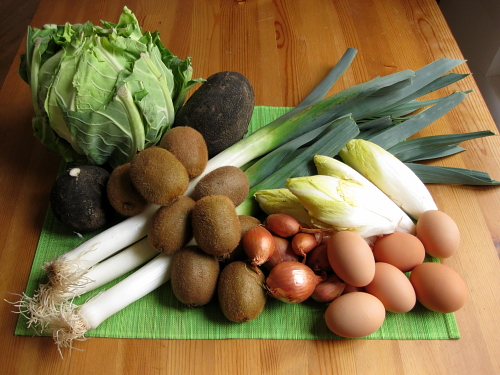 cauliflower, black radishes, kiwis, leeks, endives, shallots, eggs