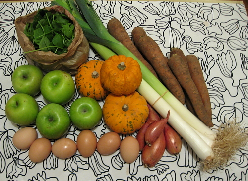 mixed greens, leeks, carrots, shallots, eggs, apples, decorative gourds